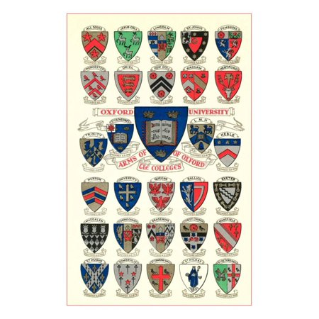 Coats of Arms of the Colleges of Oxford University Print Wall Art