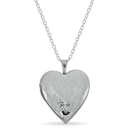 Sterling Silver Angel Wing Heart Locket Pendant 18 Inches (Angel Locket)