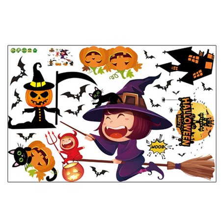 AkoaDa Halloween Witch Background Decorated Living Room Bedroom Wall Stickers Grim Reaper Wall Stickers 60x90cm