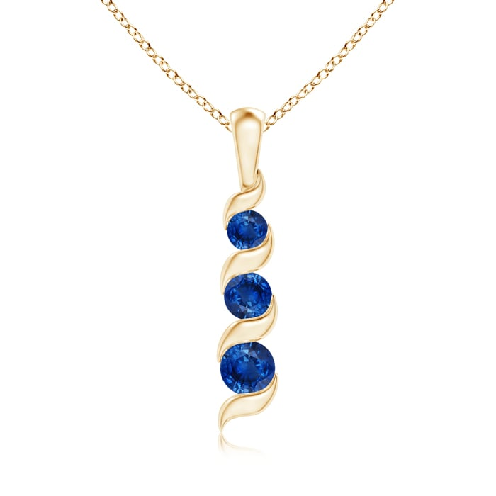 September Birthstone Pendant Necklaces Channel Set Round Sapphire 3-Stone Journey Pendant in 14K Rose Gold (4mm Blue... by Angara.com