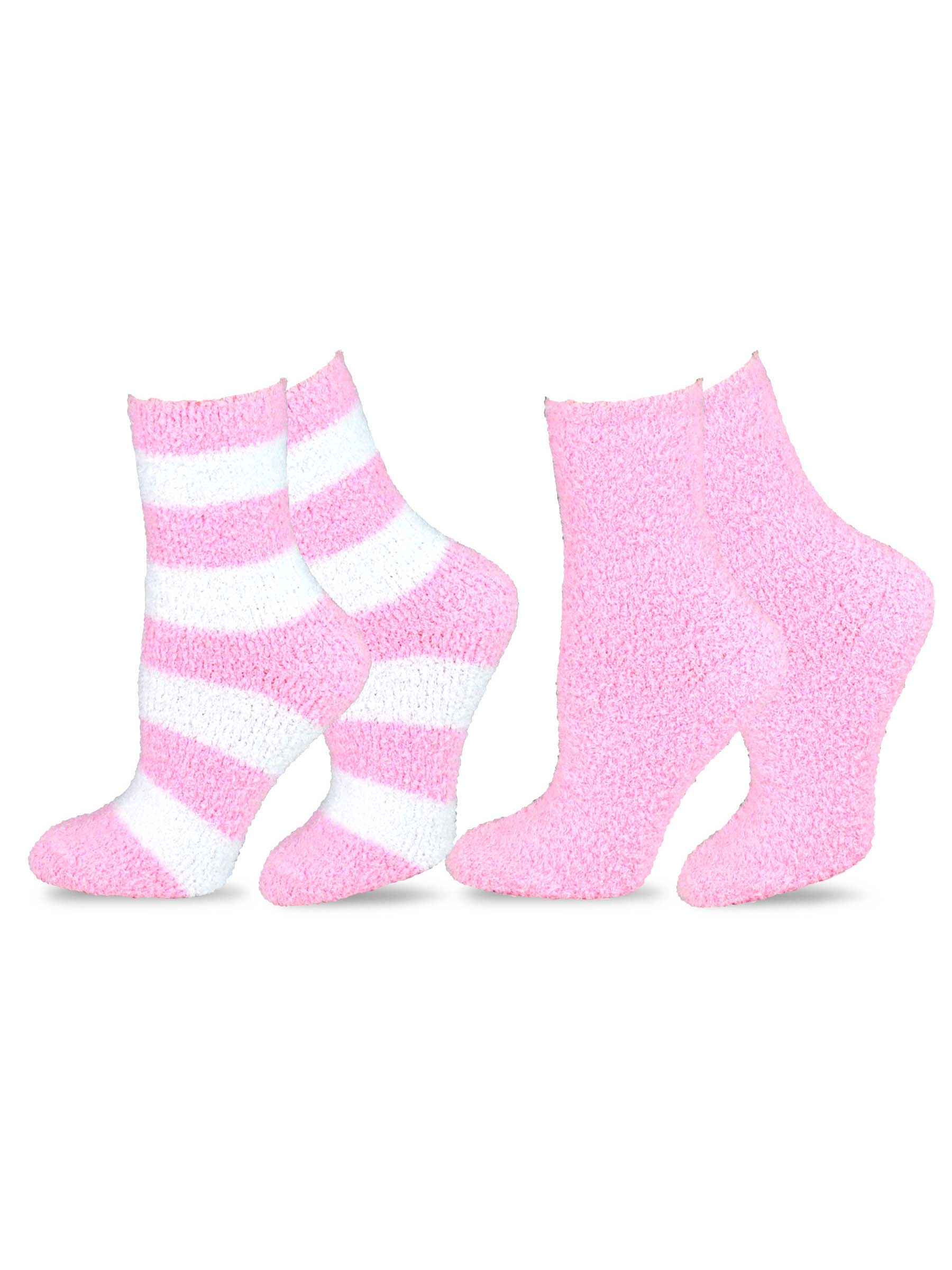 TeeHee Fashionable Cozy Fuzzy Slipper Women's 2 Pairs Crew Socks
