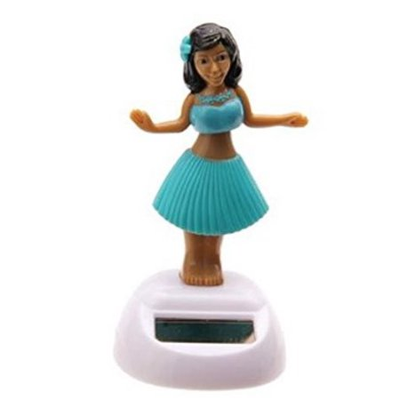 Solar Power Motion Toy Hawaii Hula Dancing Beach Girl Teal Figurine Light Activated Cute Novelty Gift Suncatcher Car Office Home Decor