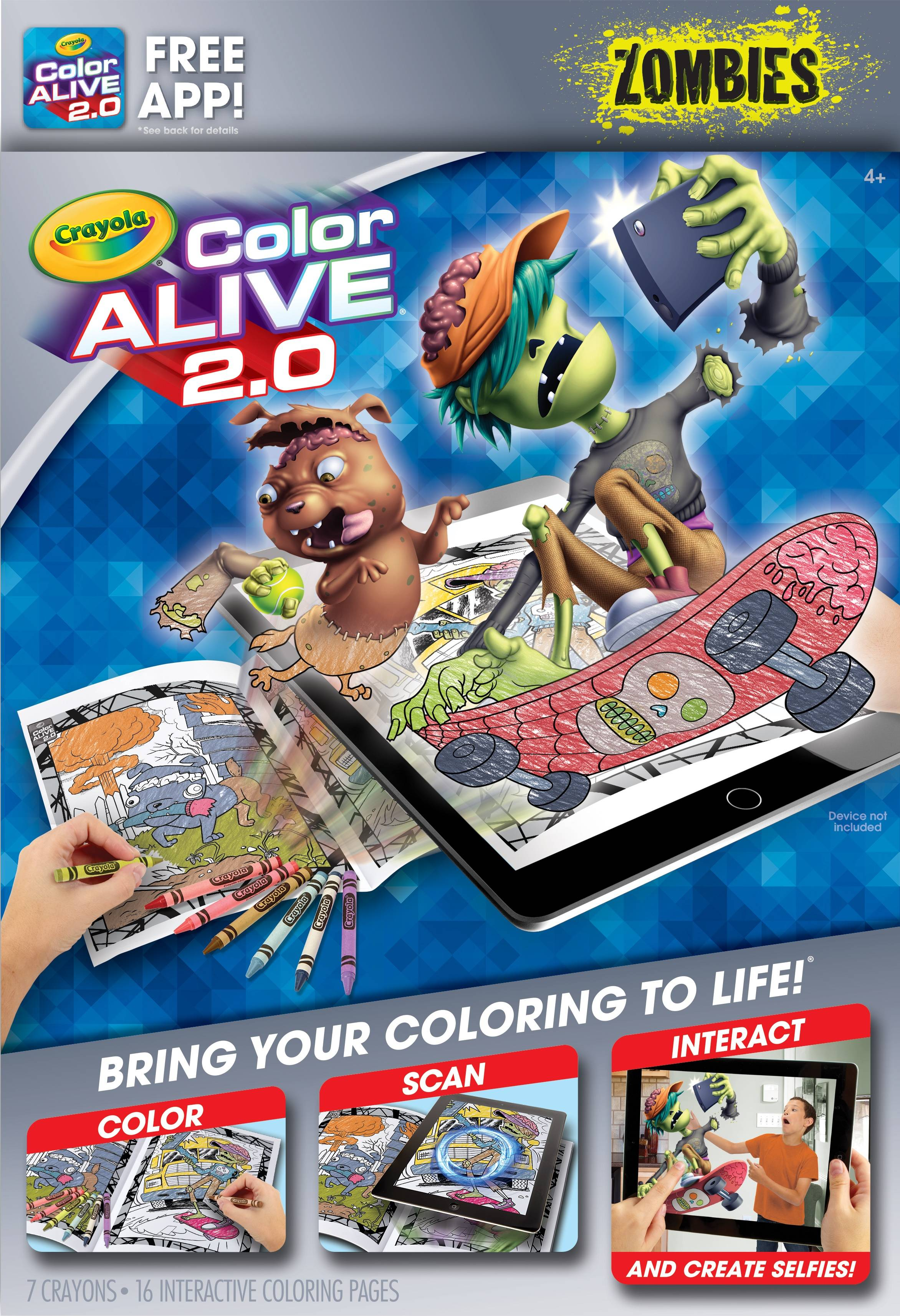 - Walmart Grocery - Crayola Color Alive 20 Interactive Coloring, Zombies  Characters, 16 Interactive Coloring Pages, 7 Crayons