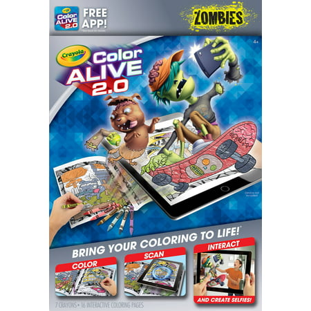 Crayola Color Alive 20 Interactive Coloring, Zombies Characters, 16 Interactive Coloring Pages, 7 Crayons - Zombie Characters