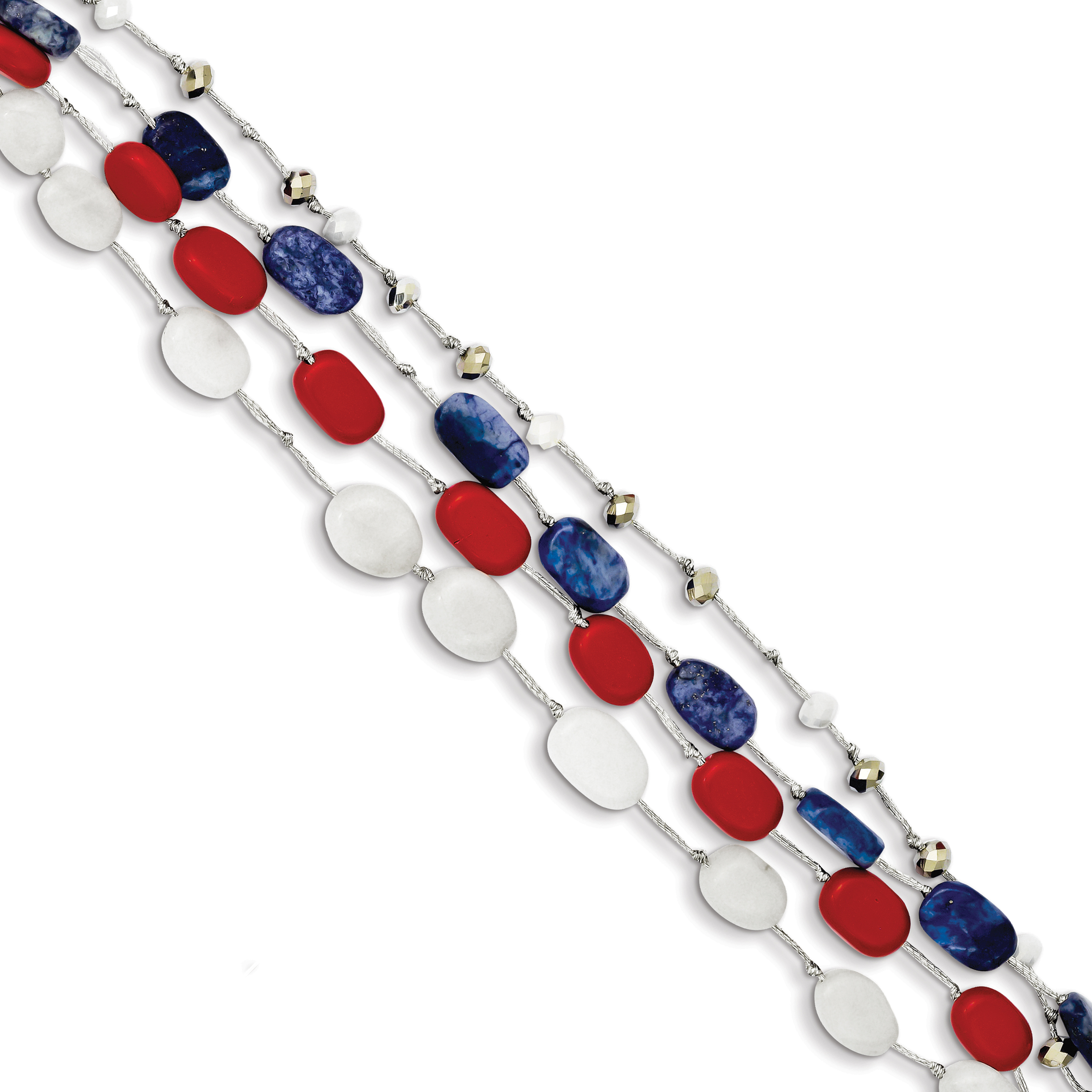 Roy Rose Jewelry Sterling Silver Red Coral, Multi Crystal, White Jade, Lapis, Extension Bracelet ~ Length 9'' inches by