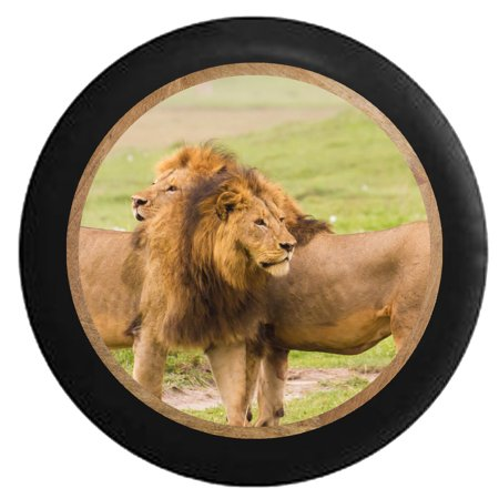 African Golden Lions - King and Queen of the Jungle  Jeep RV Spare Tire Cover Black 27.5 in