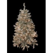 4.5' Pre-Lit Silver Tinsel Artificial Christmas Tree - Clear Lights