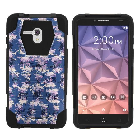 Alcatel One Touch Fierce XL 5054N Shock Fusion Heavy Duty Dual Layer Kickstand Case -  Purple Violet (A Touch Of Frost Dead Male One)
