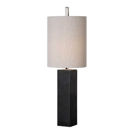 "Marble Column Lamp - 32"" Delaney Marble Column Accent Table Lamp with Tall Round Hardback Shade"