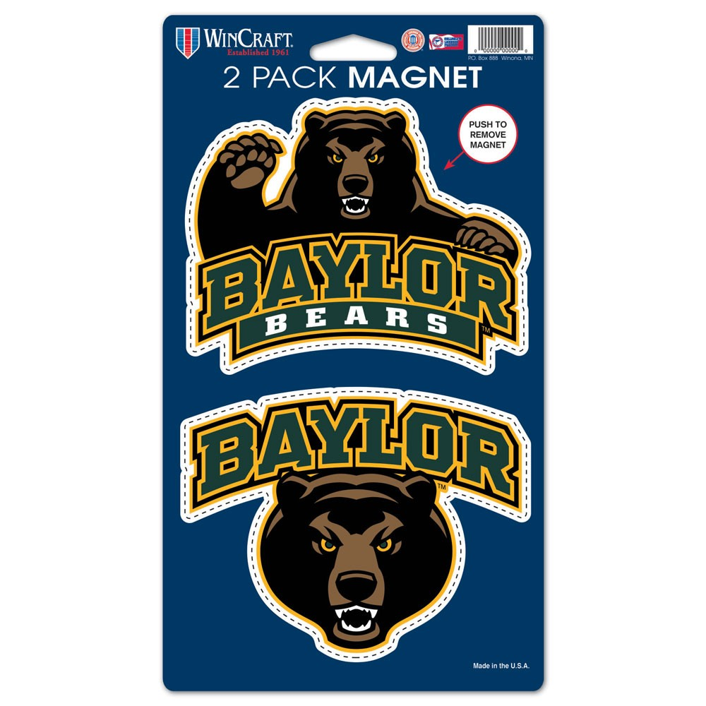 Baylor Bears Official NCAA 5 inch  x 9 inch  Car Magnet 2-Pack by WinCraft