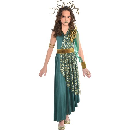 Suit Yourself Medusa Halloween Costume for Girls, Includes Dress and Headdress ()