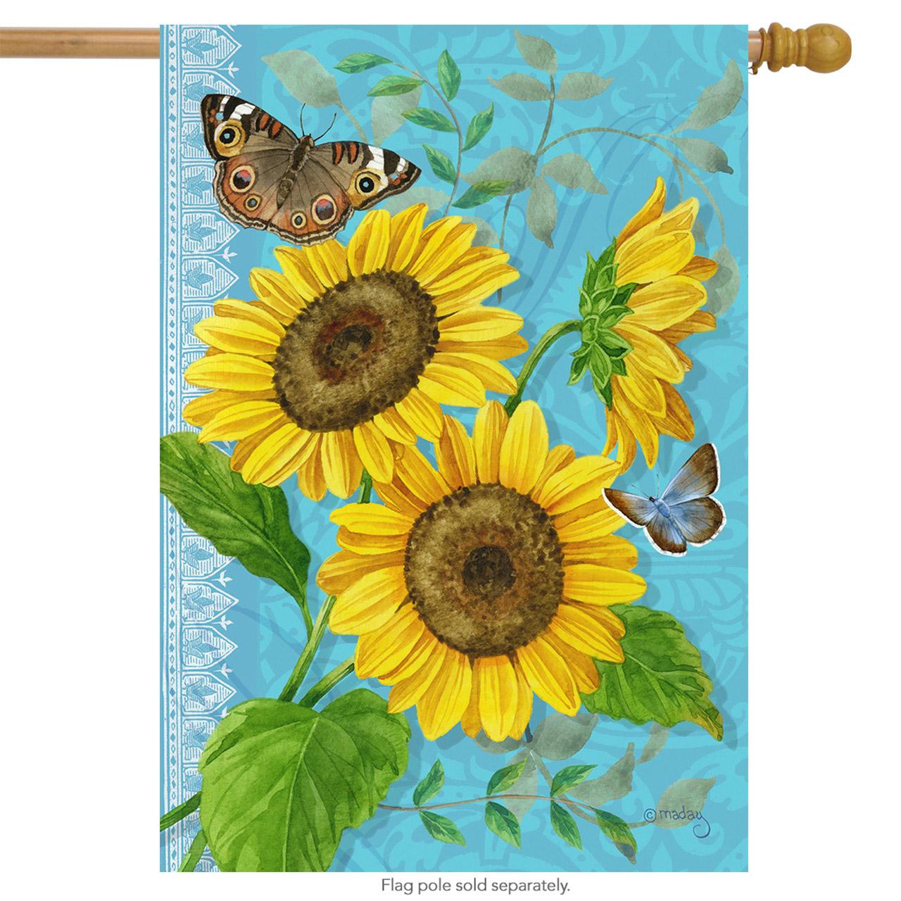 "Sunflower Summer House Flag Butterfly Floral Blue 28""x40"""