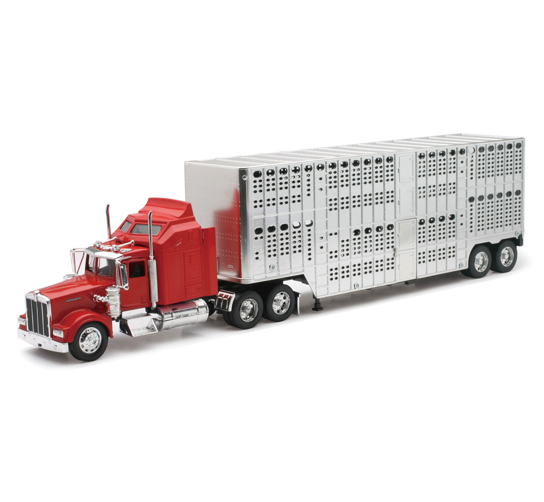 New Ray 1:32 Scale Kenworth W900 Trailer Pot Belly Livest...