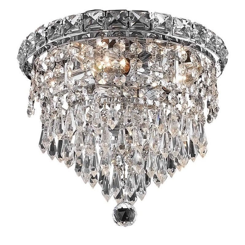 "Elegant Lighting Tranquil 10"" 4 Light Elegant Crystal Flush Mount"
