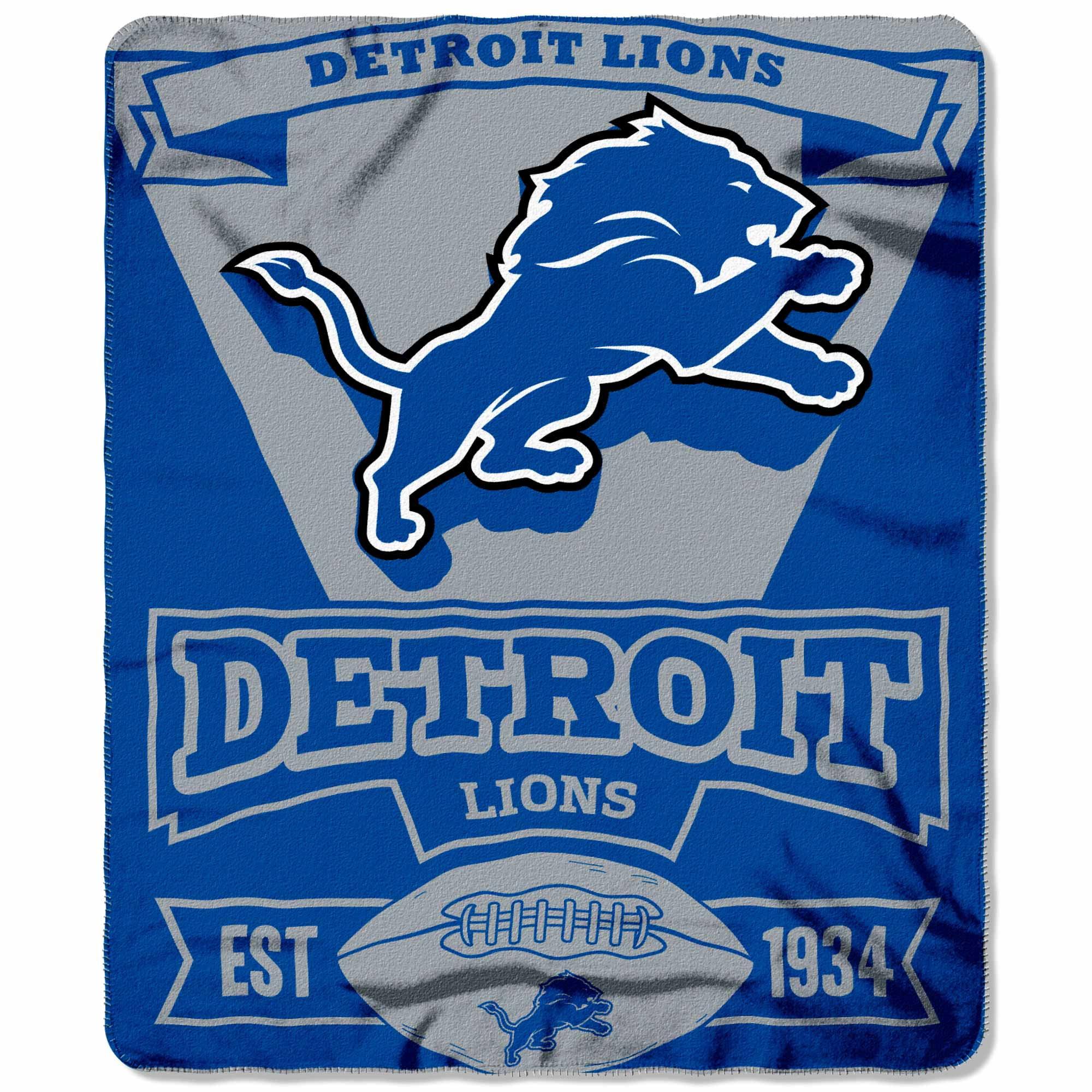 "Detroit Lions 50"" x 60"" Marque Fleece Throw Blanket - Light Blue/Silver - No Size"