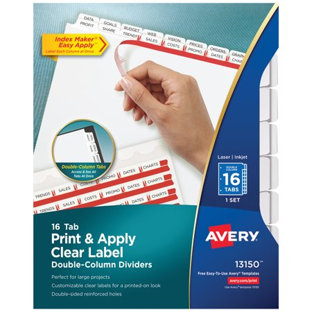 Avery Print and Apply Clear Label Dividers with 2-Column Tabs, 16-Tab, Letter Avery 5 Tab Clear Label Dividers Template