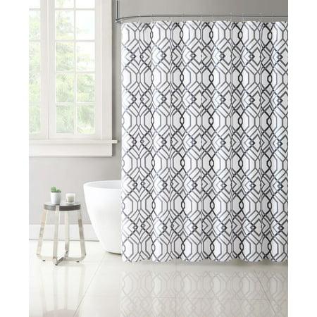 Gray Silver & White Geometric Designed Fabric Shower Curtain ()