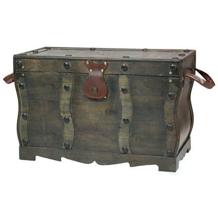 Antique Style Distressed Wooden Pirate Treasure Chest, Coffee Table Trunk ()