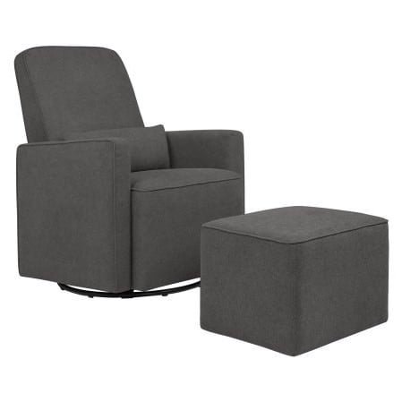 DaVinci Olive Upholstered Swivel Glider with Bonus Ottoman in Dark Grey with Cream Piping by Davinci