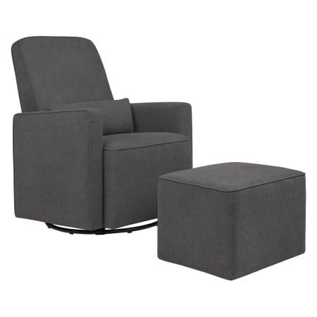Astounding Davinci Olive Upholstered Swivel Glider With Bonus Ottoman In Dark Grey Andrewgaddart Wooden Chair Designs For Living Room Andrewgaddartcom