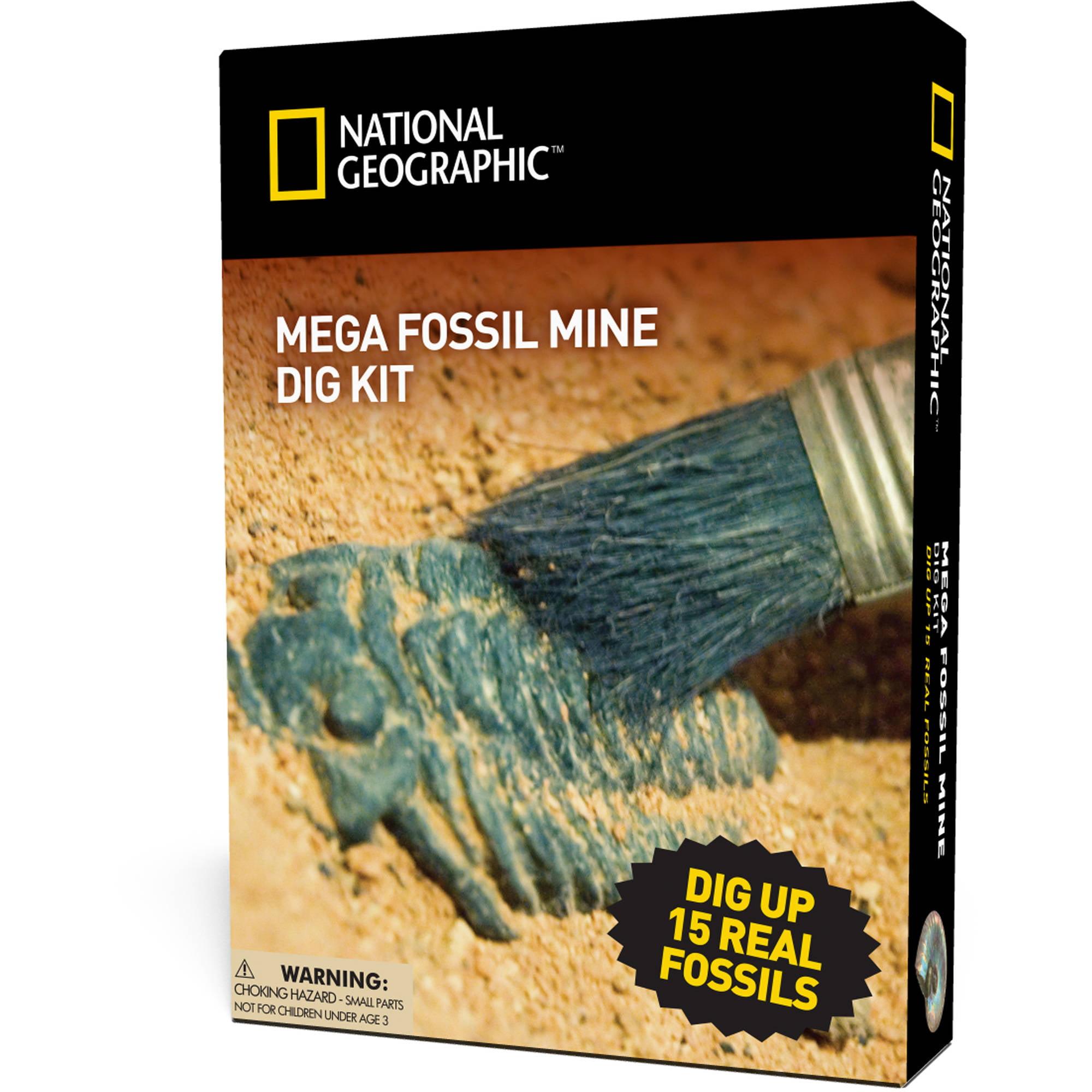 NATIONAL GEOGRAPHIC Mega Fossil Dig Kit Excavate Real Dinosaur Bone Fossils