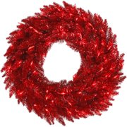 """Vickerman 36"""" Tinsel Red Fir Artificial Christmas Wreath with 100 Red Lights"""