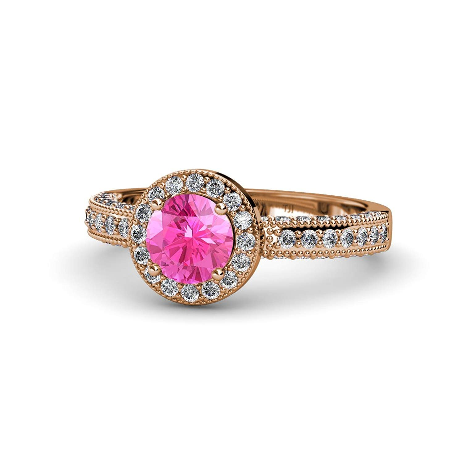 Pink Sapphire and Diamond Halo Engagement Ring with Milgrain Work 1.61 ct tw in 14K Rose Gold.size 5.0 by TriJewels