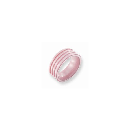 Jewelryweb Ceramic Pink Grooved 8mm Polished Band Ring