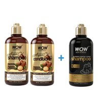 WOW Moroccan Argan Oil Shampoo and Hair Conditioner with Activated Charcoal & Keratin Shampoo (2x 500ml)