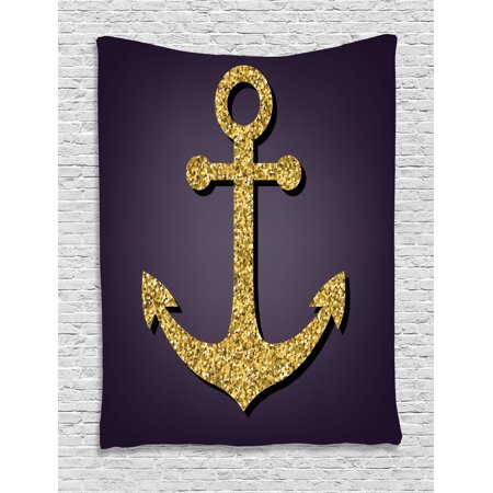 Tranquility Pattern - Anchor Decor Wall Hanging Tapestry, Anchor Pattern With Golden Sparkling Shiny Filling Tranquility Peace Artistic Stylish Home, Bedroom Living Room Dorm Accessories, By Ambesonne