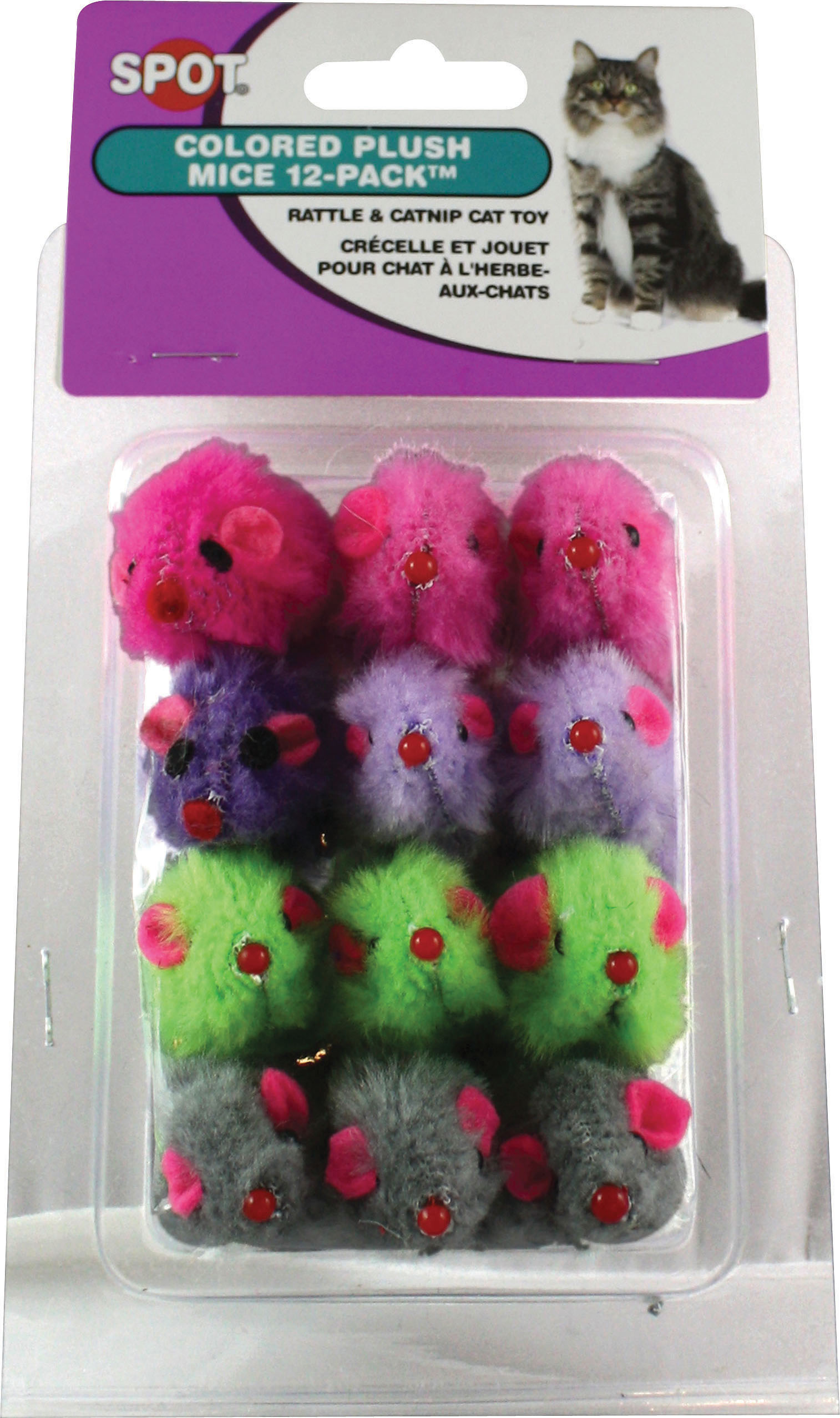 "Colored Plush Mice with Catnip & Rattle 4.5"" 12pk, Assorted by Ethical Pets"