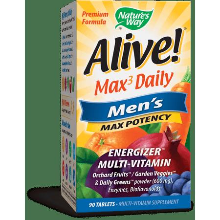 Natures Way Alive! Mens Max Potency Multivitamin Supplement Tablets 90 (Alive Multivitamin 90 Tablets)