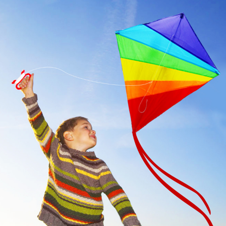 - Rainbow Diamond Kite - 47 inch Easy Flyer Rainbow Kites for Kids and Adults with 300ft Line Great Beginner Kite