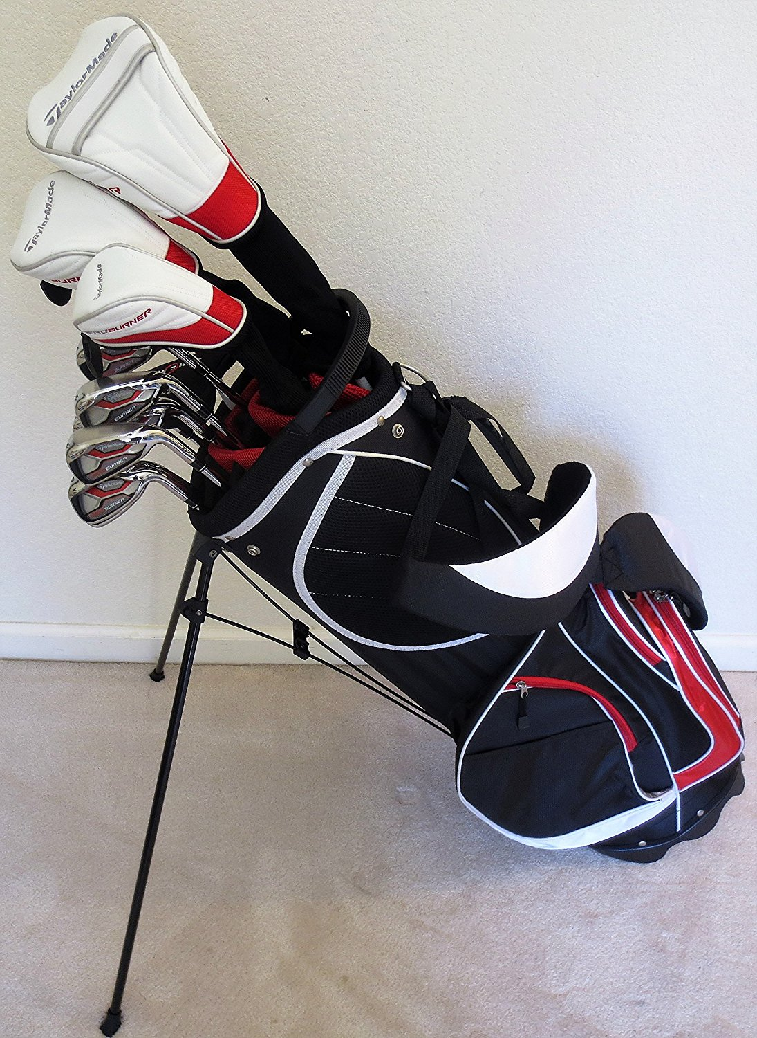 Click here to buy Mens Taylor Made Regular Flex Complete Golf Set Driver, Fairway Wood, Hybrid, Irons, Putter Clubs Stand Bag... by TaylorMade.