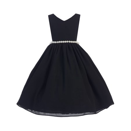 Little Girl Black Wool Dobby Pearl Elegant Sleeveless Special Occasion Dress 2-6](Black Girl Dresses)