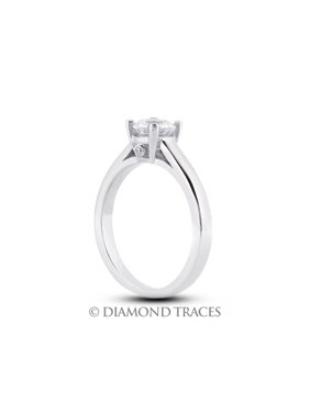 0.40ctw J-SI2 Ideal Round Genuine Diamonds 18k Gold Cathedral Accents Ring 2.1mm