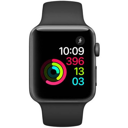 Apple Watch Series 2, 42mm Aluminum Case with Black Band