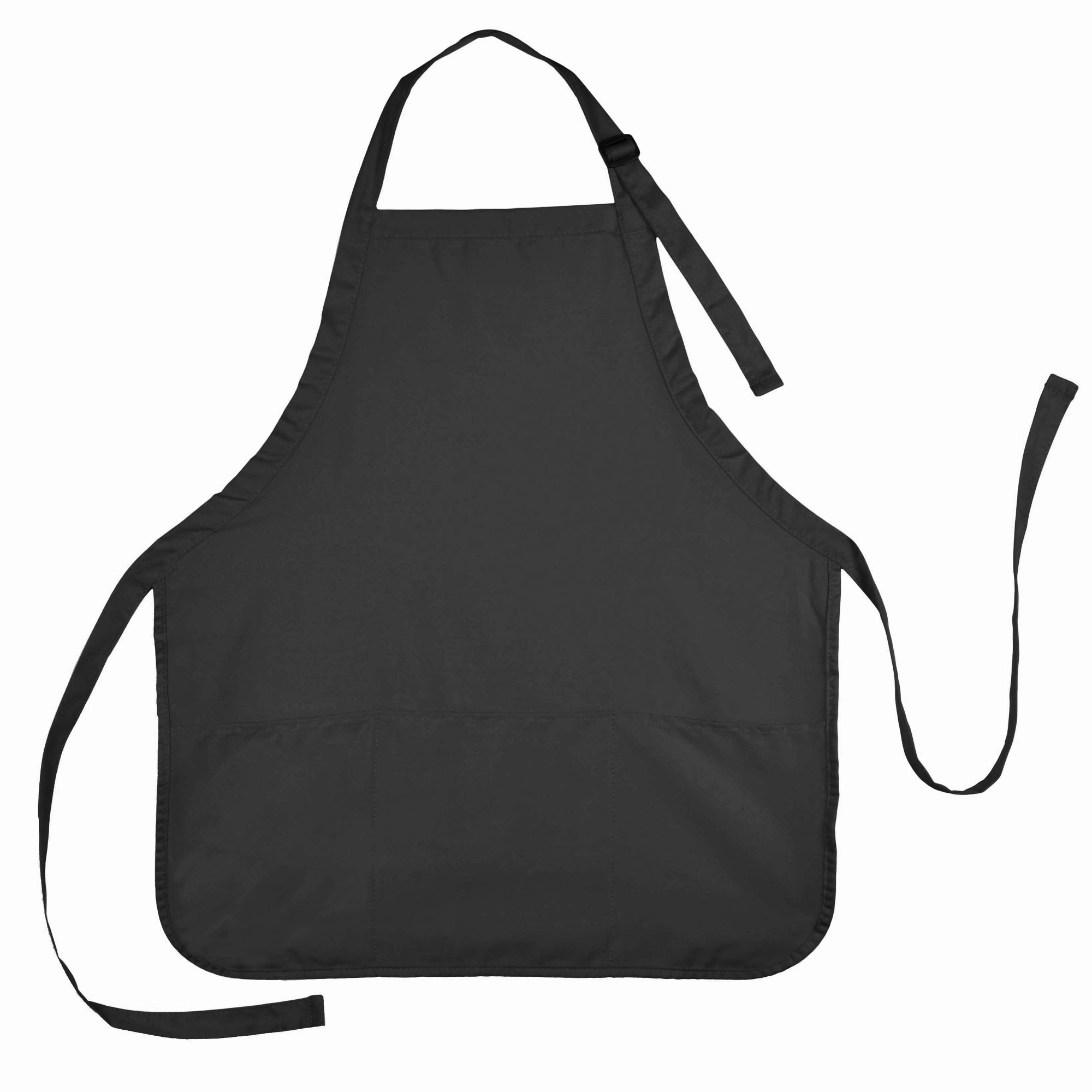DALIX Apron Commercial Restaurant Home Bib Spun Poly Cotton Kitchen Aprons (3 Pockets) in Black