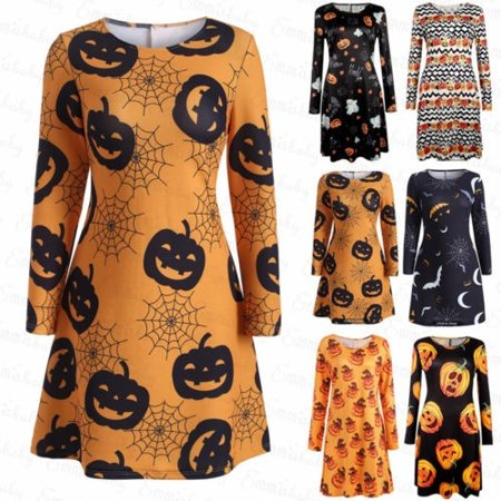 US Women's Retro Lace Ladies Halloween Vintage Dress Pleated A Line Pumpkin Swing - Haloween Dress