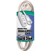 Coleman Cable 03517 Flat Plug Extension Cord, 16/3 Grounded with 3-Outlet Trinector Tap, 6'