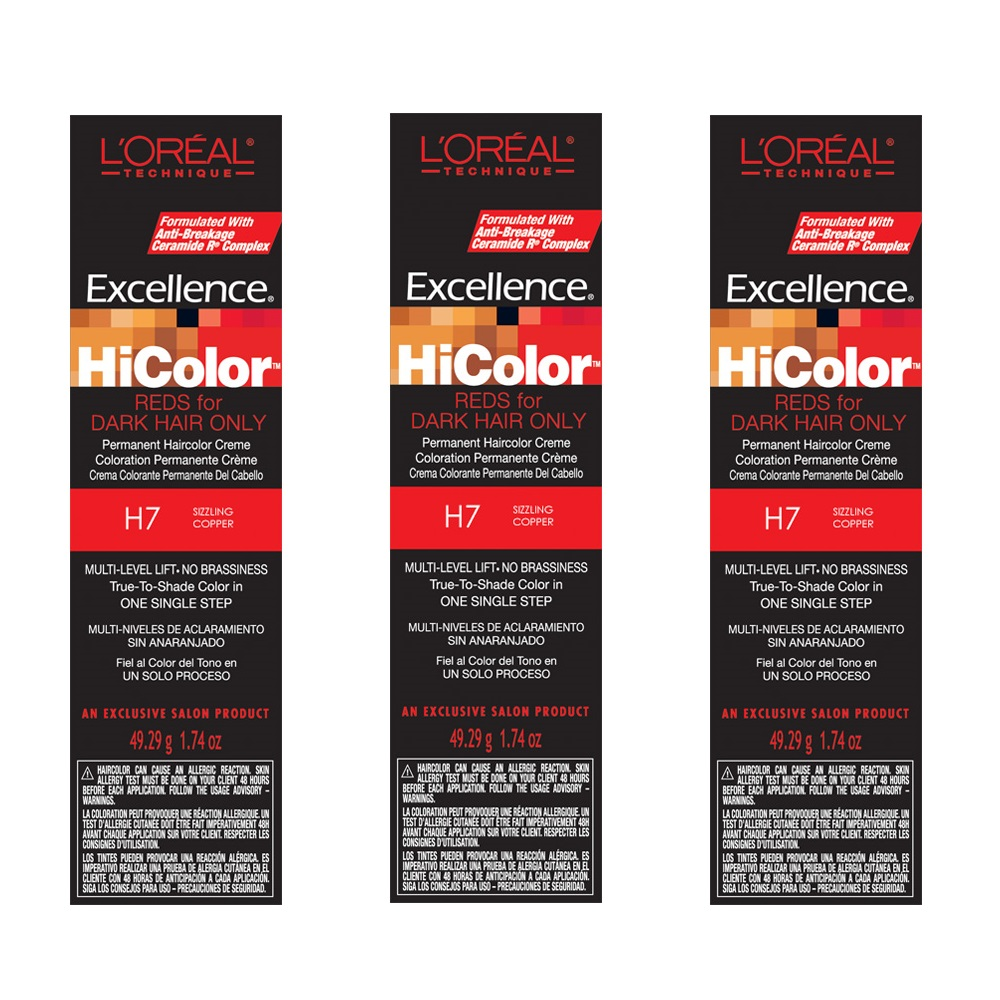 L'Oreal Excellence HiColor H7 Sizzling Copper Permanent Tint HC-05107 (3 Pack)