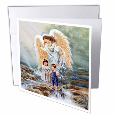 3dRose Guardian Angel, Greeting Cards, 6 x 6 inches, set of 12
