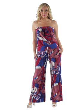 add8f0838d70 Product Image 24 7 Comfort Apparel Women s Abstract Floral Strapless Plus  Size Jumpsuit