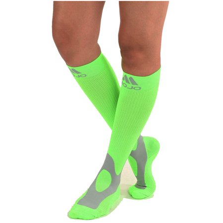 Mojo Coolmax Recovery & Performance Sports Compression Socks (XL, Neon Green) Helps Shin Splints, Recovery during and after activity - Triathlete