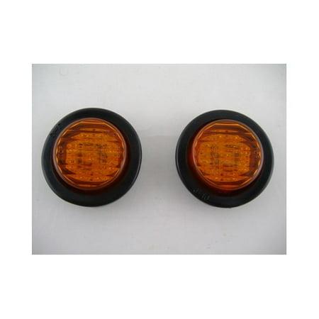 "(2) Amber 2"" Round 9 LED Mini Custom Flasher  Park Turn Signal Lights"