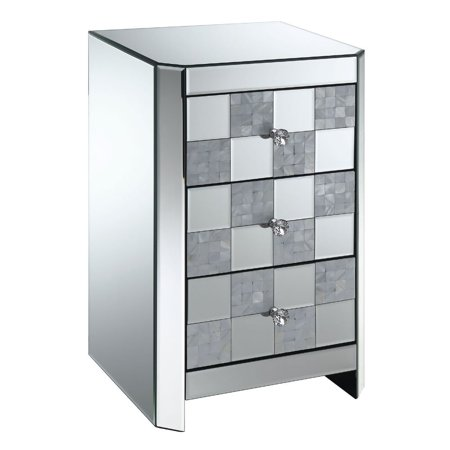 Benzara Three Drawer Mirrored Side Table with Checkered Front Panel, Silver