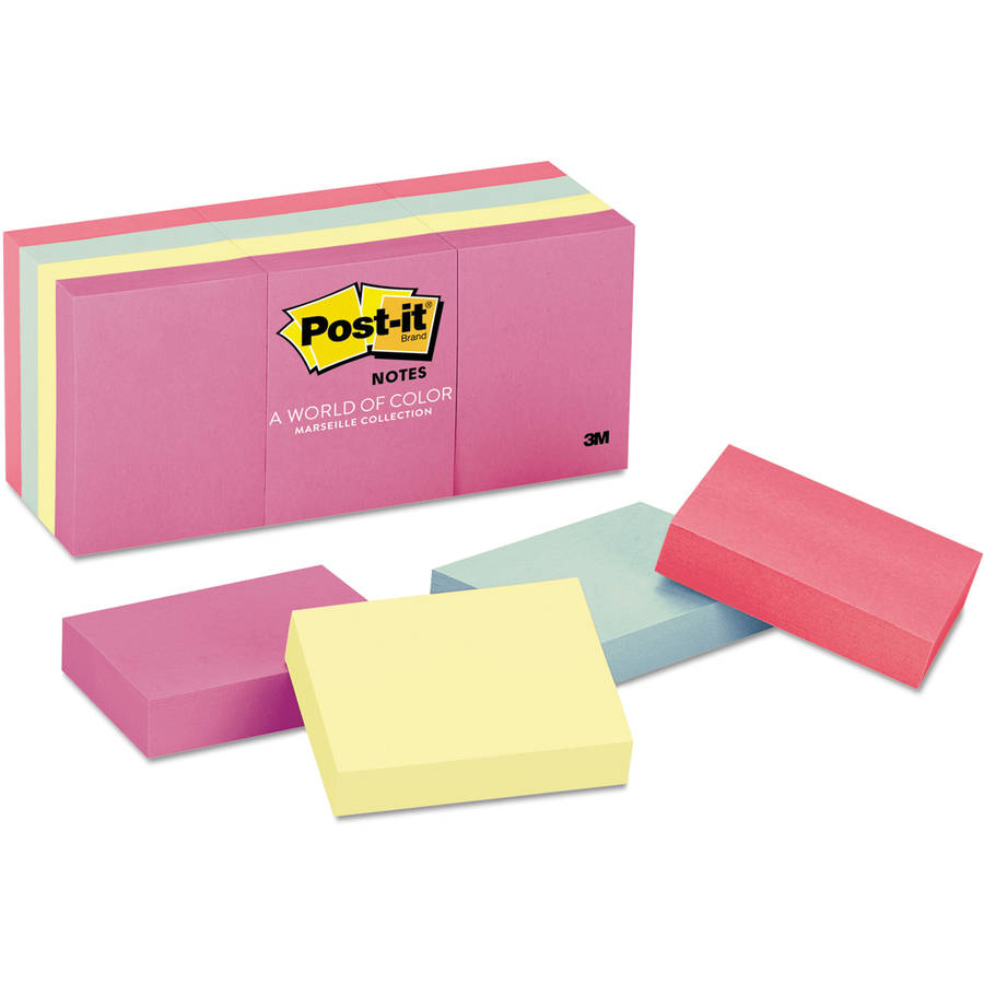 Post-it Original Pads in Marseille Colors, 1-1/2 x 2, 100/Pad, 12 Pads/Pack