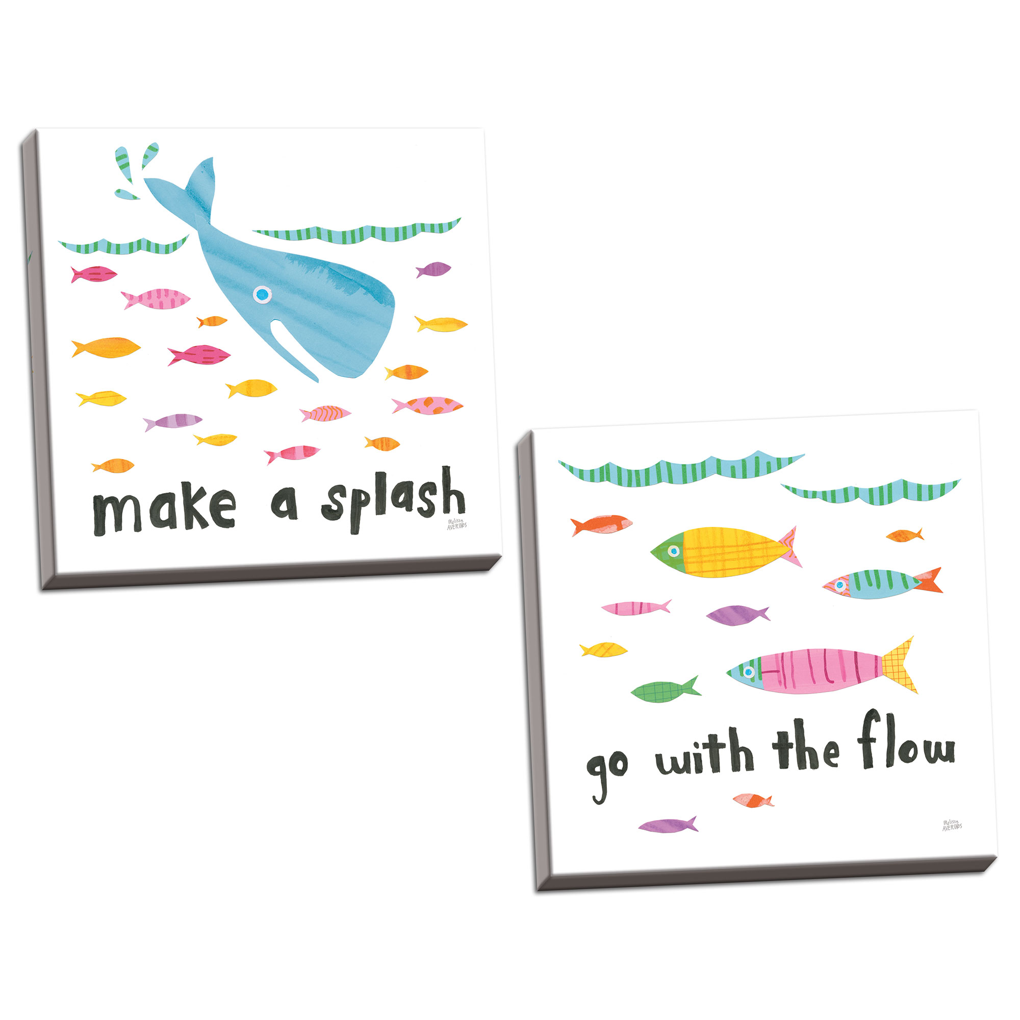 Gango Home Decor Contemporary Ocean Splash I & II by Melissa Averinos (Ready to Hang); Two 16x16in Hand-Stretched Canvases