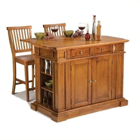 Home Styles Traditions Kitchen Island and 2 Stools, Distressed Oak