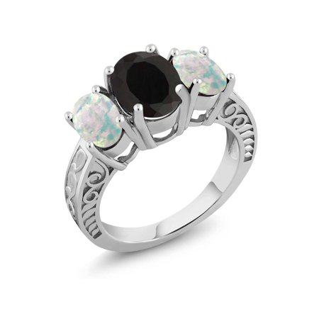 3.26 Ct Oval Black Onyx and White Simulated Opal 925 Sterling Silver Ring